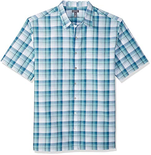 (Van Heusen Men's Big and Tall Air Short Sleeve Button Down Plaid Shirt, Porcelain, X-Large Tall)
