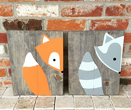 10x14 Set of 2 Woodland Animal Nursery Signs Wooden Nursery Decor Baby Shower Gift or Baby Décor wall (Peak A-boo Collection)
