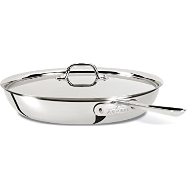 All-Clad 41135 Stainless Steel 3-Ply Bonded Dishwasher Safe French Skillet with Loop and Lid Cookware, 13-Inch, Silver