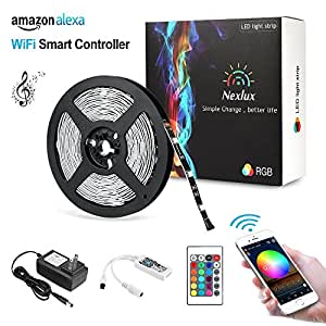 Nexlux LED Strip Lights, Wifi Wireless Smart Phone Controlled Light Strip Kit 16.4ft 150leds 5050 Non-Waterproof LED Lights ,Working with Android and IOS System,Alexa, Google Assistant