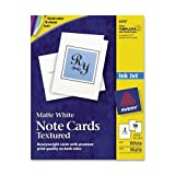 Wholesale CASE of 15 - Avery Matte White Textured Note Cards-Note Cards,Inkjet,Textured,4-1/4''x5-1/2'',50/BX,White