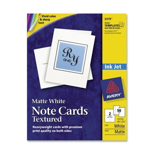 Wholesale CASE of 15 - Avery Matte White Textured Note Cards-Note Cards,Inkjet,Textured,4-1/4''x5-1/2'',50/BX,White by AVE