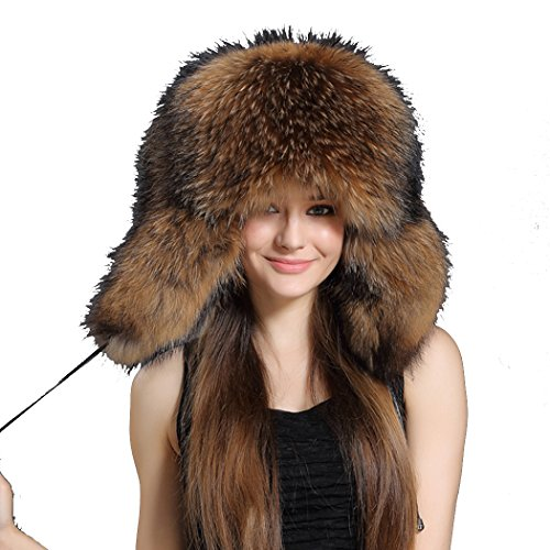 BeFur Unisex Trapper Hat Womens Real Fur Russian Bomber Cap