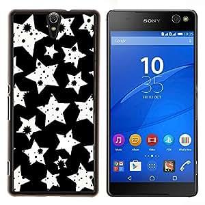 Caucho caso de Shell duro de la cubierta de accesorios de protección BY RAYDREAMMM - Sony Xperia C5 Ultra - Blanco Modelo de estrellas