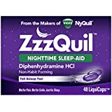 Vicks ZzzQuil Nighttime Sleep Aid, Non-Habit Forming, Fall Asleep Fast and Wake Refreshed, 48 Ct LiquiCaps