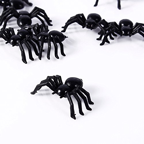 SaveStore 20/50/100 pcs 2114mm Halloween Decoration Black Plastic Spider Black Fake Spiders Halloween Funny Joke Prank Realistic Props