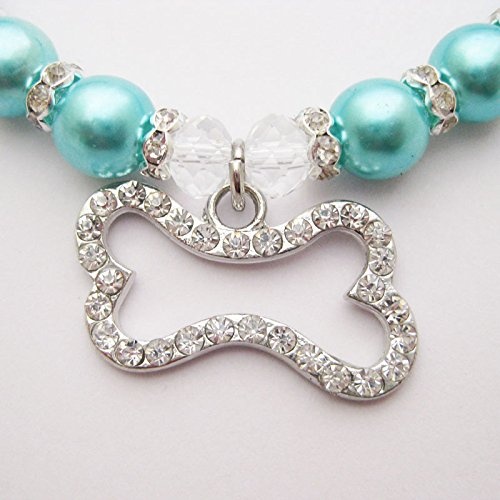 PETFAVORITES Engraved Crystal Bone Dog Necklace Collar Jewelry with Bling Pearls Rhinestones Charm for Pets Cats Small Dogs Girl Teacup Chihuahua Yorkie Clothes Costume Outfits (Blue, Size: 8''-10'')