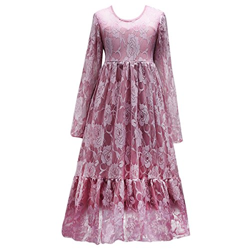 IBTOM CASTLE Little Big Girls Bridesmaid Wedding Pageant Party Princess Communion Floral Boho Rustic Lace Long Sleeves Flower Girls Dresses Lotus Pink 8-9 Years ()