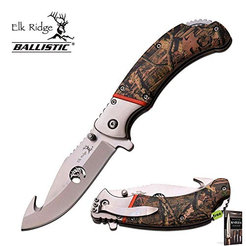 SPRING-ASSIST FOLDING POCKET KNIFE Elk Ridge Camo Gut Hook Switch Open ER-A162 Knife + Free eBook by SURVIVAL STEEL -