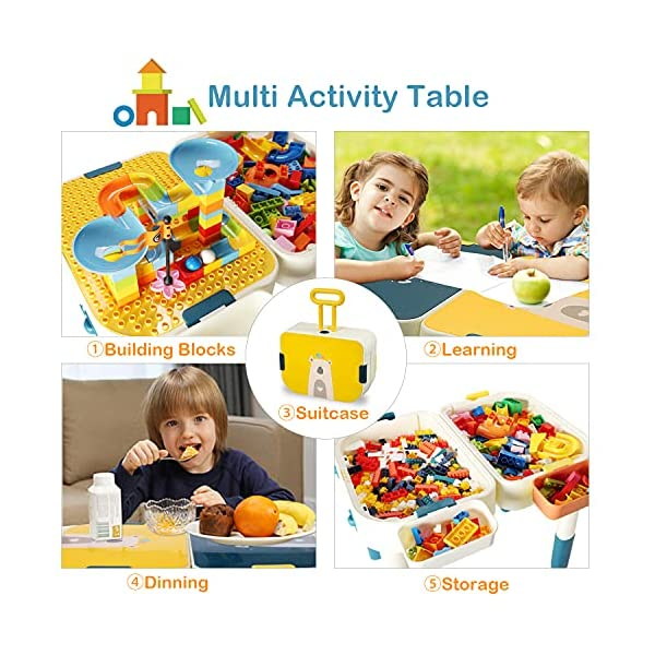 Toddlers Activity Table with Building Blocks Kids Table Learning & Education Preschool Toys Compatible with Lego Duplo…