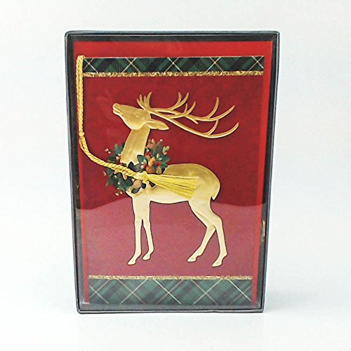 Hallmark Golden Reindeer with Tassel Boxed Christmas Cards