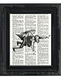 "Dictionary Art Print - Steampunk Aerial Flying Man - Printed on Recycled Vintage Dictionary Paper - 8.5""x11"" - Mixed Media Poster on Vintage Dictionary Page"