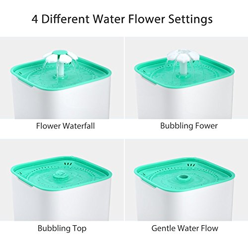 GDAE10 Pet Fountain, Cat Water Dispenser, Automatic Pet Drinking Fountain 2L Super Quiet Flower Circulating Silent Pump with 2 Replacement Filters for Cats, Dogs, Birds and Small Animals by GDAE10 (Image #8)