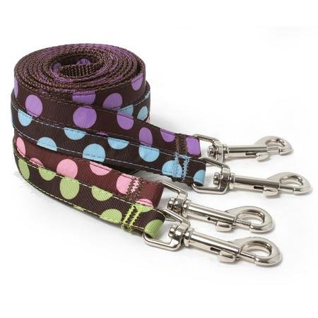Thin Two Tone Dots Brown Dog Leash--BLUE/BROWN