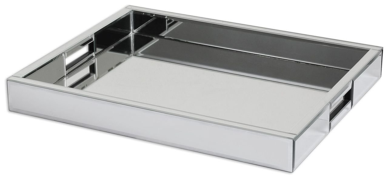 Modern Mirrored Glass Serving Tray | Decorative Bar Handles