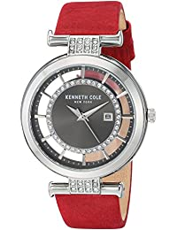 Kenneth Cole New York KC15005007 Reloj Análogo para Mujer, color Fibra de Carbono/Rojo
