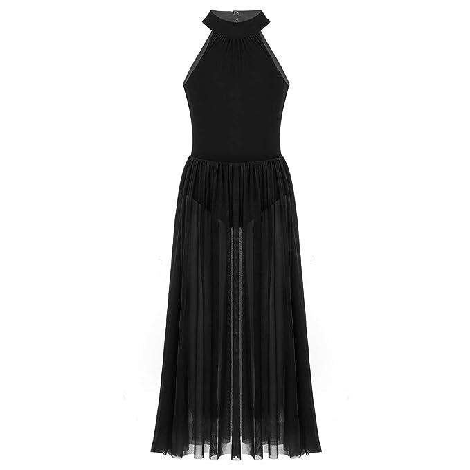 4d723d456025 Alvivi Big Girls Mock-Neck Leotard Lyrical Dance Dress Sheer Modern  Contemporary Costumes Black 7