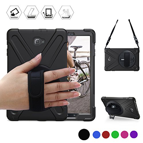 Galaxy Tab A 10.1 with S Pen P580/P585 Case, BRAECN[Heavy Duty] 3 in 1 PC+Silicone Shockproof Full-Body Rugged Protective Case Built-in Kickstand+ Hand Strap+Shoulder Strap (NO SM-T580) (Black)