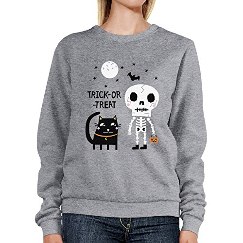 Unique Trick shirt Taille Femme Cat Longues Manches Black Sweat Skeleton Printing treat or 365 0qn4w