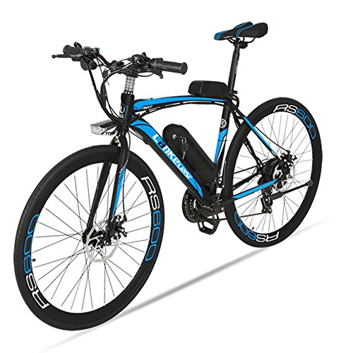 Cyrusher RS600 Bicycle For Mans 21 Speeds 700C Road Electric Bicycle 240Watt 36V Disc Brakes Gift For Man (Black-blue) VTSP
