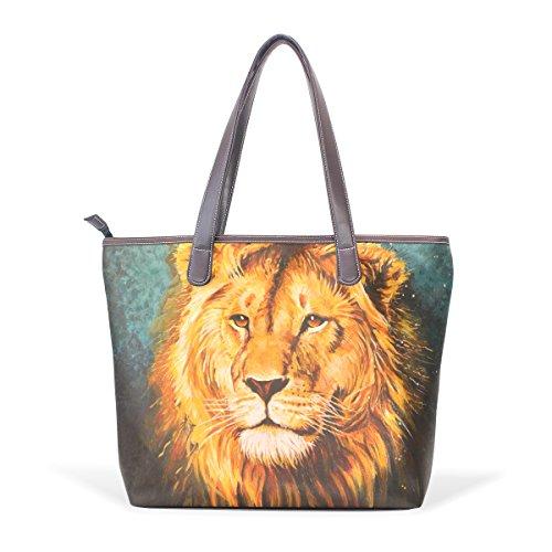 COOSUN El león de Judah grandes bolsos de hombro de la manija de cuero del totalizador mujeres de la PU bolsa de asas M (40x29x9) cm muticolour