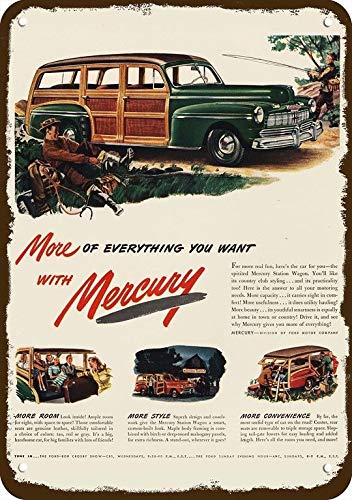 (Yilooom 1946 Mercury Woody Station Wagon Car Vintage Look Replica Metal Sign 7
