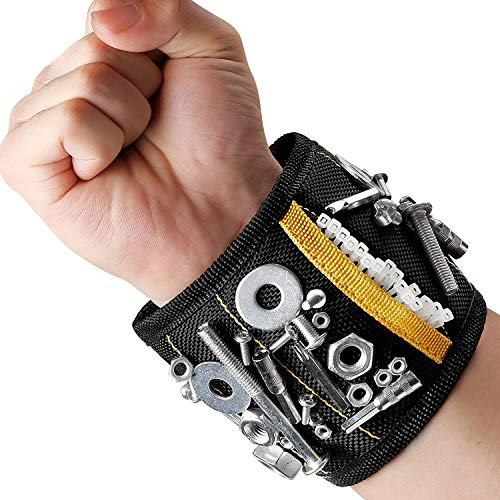MYCARBON Magnetic Wristband Gift for Men 15 Powerful Magnets Hand Tools Wristband Tool Belt for Holding Tools, Screws…