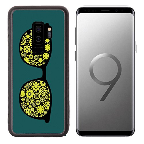 MSD Samsung Galaxy S9 plus Aluminum Backplate Bumper Snap Case IMAGE ID: 12957490 Retro eyeglasses with flowers and plants reflection in it