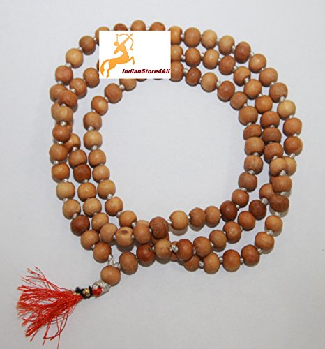 IndianStore4All 8MM TULSI HOLY BASIL PRAYER BEADS JAPA MALA NECKLACE HAND KNOTTED. KARMA (108+1) BEADS. BLESSED & ENERGIZED HINDU TIBETAN BUDDHIST SUBHA ROSARY ORANGE TESSEL