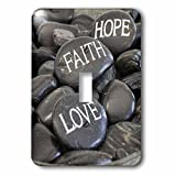 3dRose Andrea Haase Still Life Photography - Black Pebble With Engraved Words Love Faith Hope - Light Switch Covers - single toggle switch (lsp_268540_1)