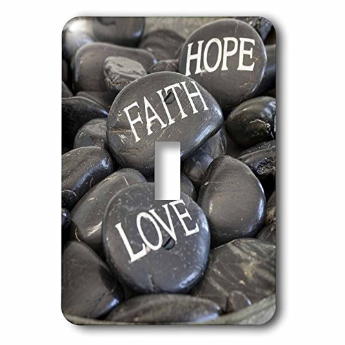 3dRose Andrea Haase Still Life Photography - Black Pebble With Engraved Words Love Faith Hope - Light Switch Covers - single toggle switch (lsp_268540_1) by 3dRose