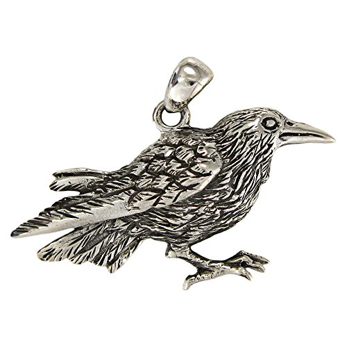 Sterling Silver Bird Totem Raven Pendant; 1.25 Inches Wide