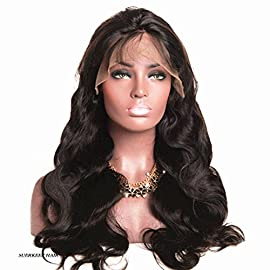 Suerkeep Unprocessed Brazilian Virgin Hair 10 inch Body Wave Human Hair Lace Frontal Wigs with Baby Hair Natural Wave Wigs for Black Women 150% Density Glueless Wavy Lace Frontal Wig Pre Plucked