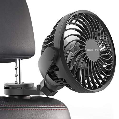 OPOLAR Car Fan with Strong Clamp, Car Rear Seat Passenger Baby Pet Driver USB Electric Fans, Rotatable Car Seat Headrest Clip on Fan, 4 Speeds Cooling Air for SUV RV Boat Auto Vehicles Van Backseat