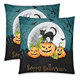 InterestPrint 2 Pack Halloween Decor Party with Pumpkin and Cat Throw Cushion Pillow Cover 18x18 Twin Sides, Halloween Gift Zippered Pillow Case Pillowcase Set Shams Decorative
