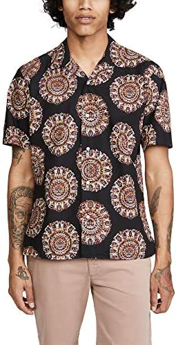 Gitman Vintage Men`s Medallion Kalamkari Camp Collar Short Sleeve Shirt