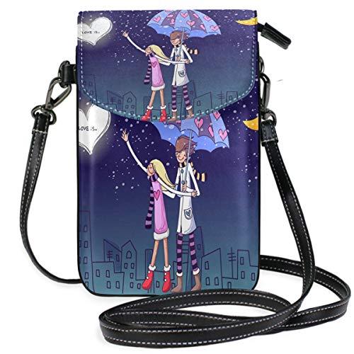 Sweet Love Wallpaper Small Crossbody Bag Cellphone Purse Womens Cute Leater Handbag (Lucky Slip Satchel)