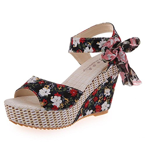Elevin(TM) Women Summer Fashion Peep-Toe Bohemia Wedges High Platform Flip Flops Sandal Shoes (8US, Black) (Sandals Floral Wedge)