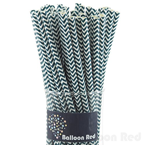 [Biodegradable Paper Drinking Straws (Premium Quality), Pack of 50, Chervon - Navy] (Drinking Hats With Straws)