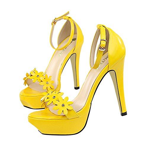 z&dw Elegantes tacones altos impermeable Taiwán flor remache sandalias decorativas Amarillo