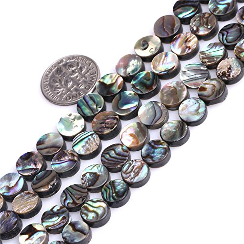 8mm Coin Natural Abalone Shell Beads Strand 15