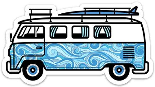 "VW Surf Van Bus Sticker Decal California 5"" x 2.73"" Aloha Blue Waves"