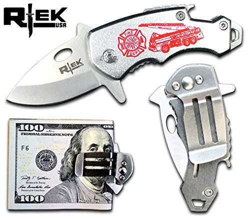RTek USA Tactical Money Clip Bottle Opener Folding Spring Assisted Open Knife 7 Variations Army, Navy, Marines, Special Forces, Fire Department, Police, Air Force, (Fire Fighter)