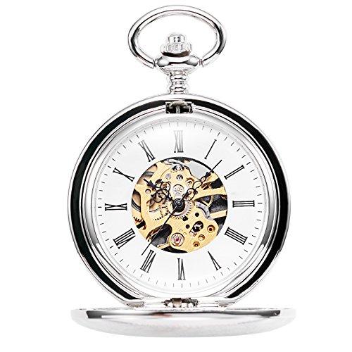 TREEWETO Double Open Skeleton Pocket Watch Mechanical Hand Wind Full Hunter Watch for Men Women by TREEWETO (Image #2)