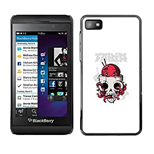KLONGSHOP // Cubierta de piel con cierre a presión Shell trasero duro de goma Protección Caso - Pulpo cráneo - Blackberry Z10 //