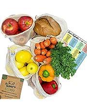 EcoYou Wiederverwendbare Obst- & Gemüsebeutel Baumwolle FAMILIENPACKUNG 5er Set Inkl. Brotbeutel & SAISONKALENDER - Nachhaltige Einkaufsnetze Obst- & Gemüsenetze mit Gewichtsangabe