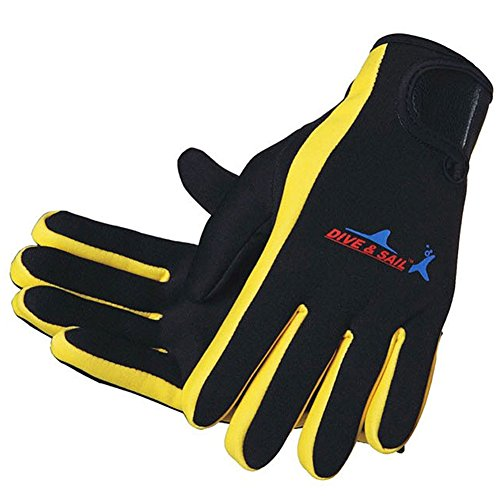 (DIVE & SAIL Wetsuits 1.5 mm Premium Neoprene Gloves Scuba Diving Five Finger Glove, Yellow, Small)