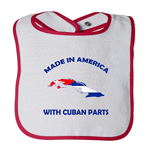 (Cute Rascals Made In America With Cuban Parts Tot Contrast Trim Terry Bib White/Red)