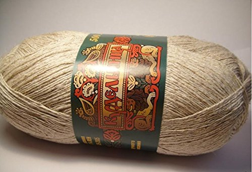 Linen Cotton Yarn Thread Crochet Hand Knitting Art Lot 4 skeins 400g 2184yds Color Natural Linen