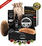 UPGRADED Beard Kit for Men Beard Growth Grooming & Trimming - Beard Shampoo Wash, Unscented Leave-in Conditioner Oil, Mustache & Beard Balm, Beard Brush, Comb, Scissors, Best Perfect Gift for Him Dad